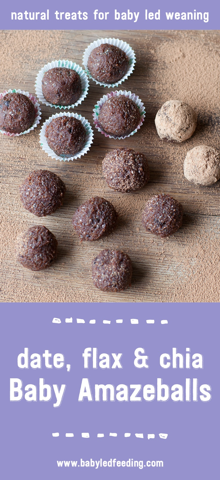 10 minute Baby Amazeballs! Date, Flax and Chia rolled into a healthy finger food for babies and toddlers. VEGAN, vegetarian, refined sugar free and high in protein, fiber, and magnesium.This easy and healthy recipe works great as a sweet appetizer freezer friendly. No cooking required! #amazeballs #babyledfeeding #appetizer #freezerfood #fingerfood @via https://www.pinterest.ie/babyledfeeding/