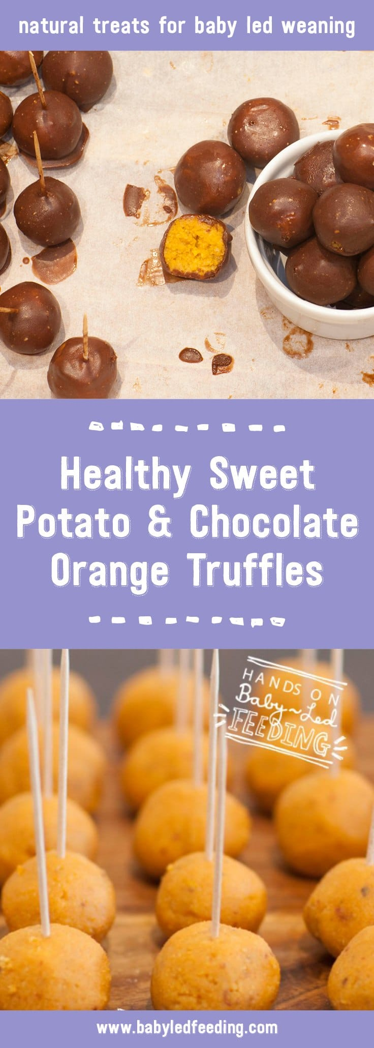 Sweet Potato & Orange Chocolate Truffles -Vegan & Refined Sugar Free. Roasted sweet potato, sweet dates, fragrant orange oil, orange juice, coco, with optional cashew butter. These make a delicious healthy snack for toddlers, moms, and dads! Use as a sweet appetizer or a healthy dessert. These babies are freezer friendly making this an easy make ahead recipe. #truffles #vegan #makeahead #babyledweaning #babyledfeeding #sweetpotato