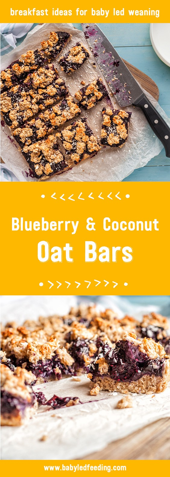 Refined sugar free healthy breakfast bars are loaded with blueberries, whole grains, and omega3 rich chia seeds! This easy recipe uses maple syrup and bananas for sweetness to save your kids from sugar overload. The texture and sweetness make these oat bars wonderful for baby led weaning. #oatbars #healthybreakfast #healthysnacks #babyledweaning #fingerfood #babyledfeeding
