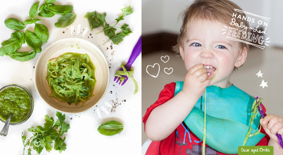 Super Baby Parsley Pesto with Courgetti Spaghetti Baby Led Feeding.