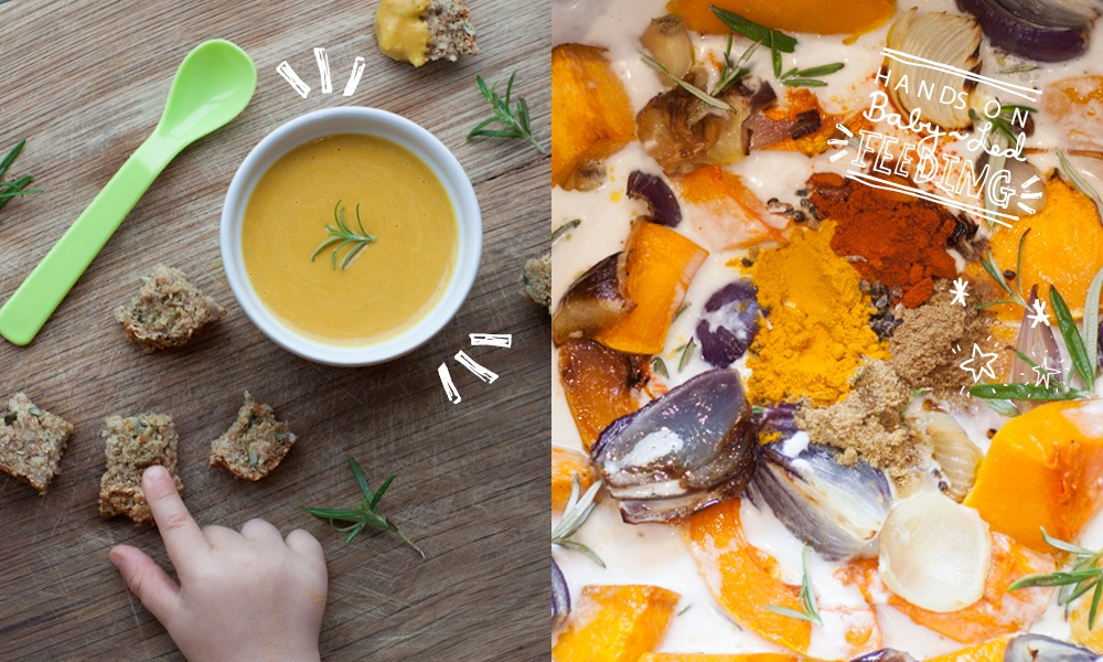 Roasted Butternut Squash with Cardamon Coconut Soup Baby Led Feeding.