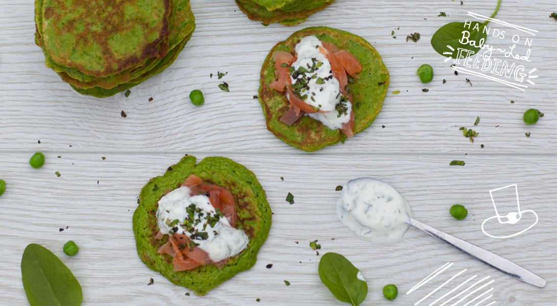 Spinach and Pea Pancakes Baby Led Feeding.