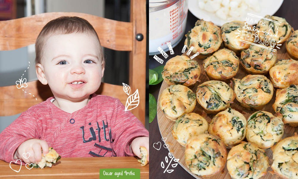 Spinach, Goat Cheese and Thyme Muffins Baby Led Feeding.