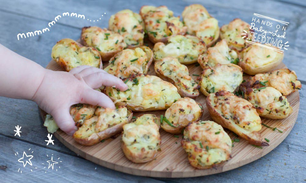 Cheese and Chive Stuffed Baby Potato Skins Baby Led Feeding