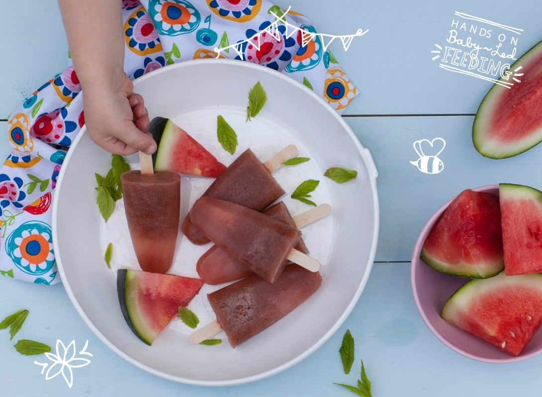 Baby Led Feeding Melon and Mint Zingy Pops Main Image. Healthy Homemade Baby Food Recipes Featured Image. Summer baby recipe ideas. Teething Babies.