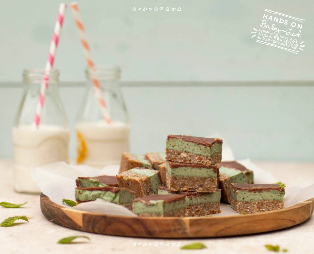 Baby Led Feeding Healthy Mint Chocolate Slice. Aileen Cox Blundell Healthy Homemade Baby Food Recipes.