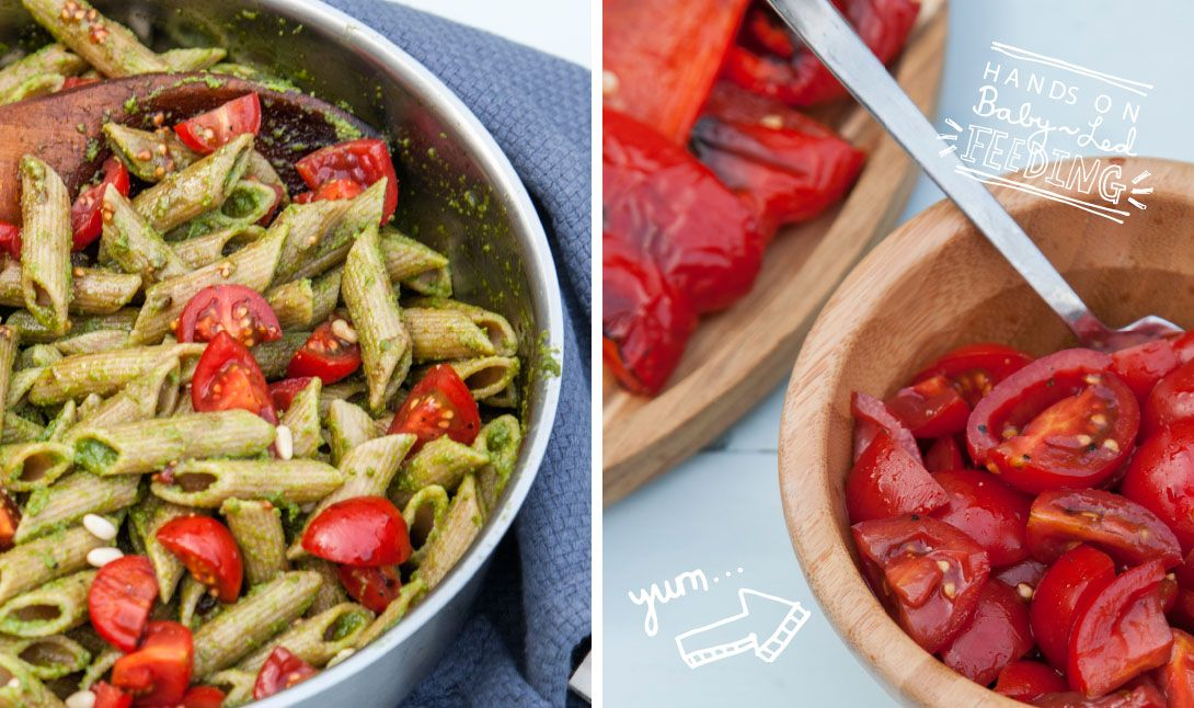 Baby Led Feeding 10 Minute Pesto Pasta with Roasted Vegetables and Balsamic Tomatoes. Homemade Baby led weaning Recipes Aileen Cox Blundell.