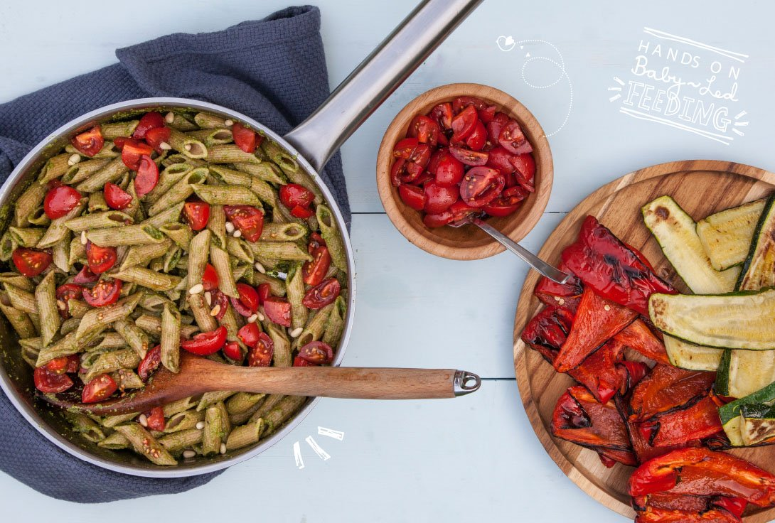 Baby Led Feeding 10 Minute Pesto Pasta with Roasted Vegetables and Balsamic Tomatoes Full Banner Image. Homemade Baby led weaning Recipes Aileen Cox Blundell.