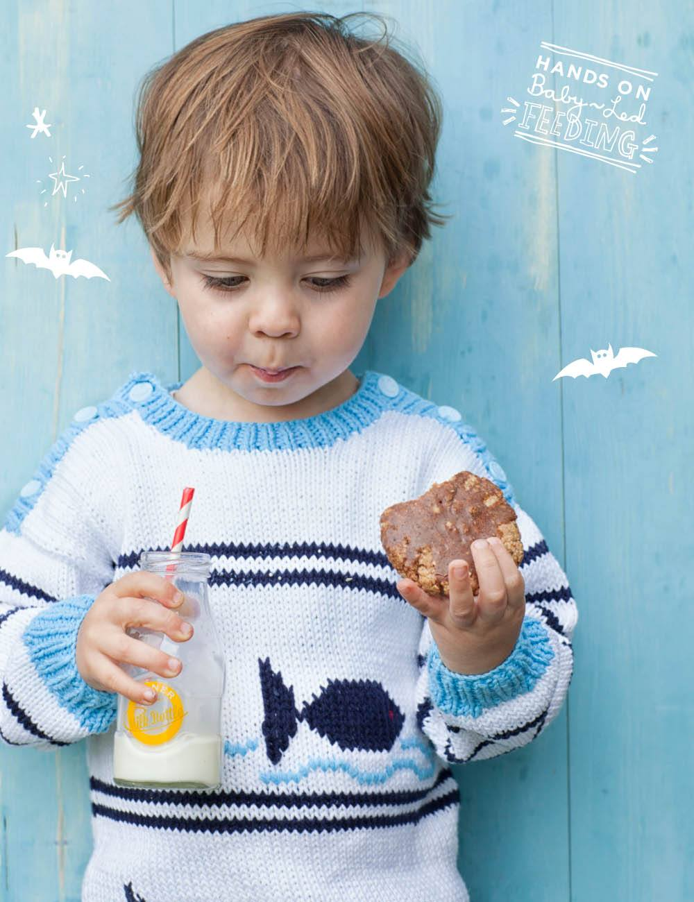 Baby Led Feeding Coconut and Oat Chocolate Cookies. Aileen Cox Blundell Healthy Homemade Baby led weaning Recipes Oscar eating the cookie.