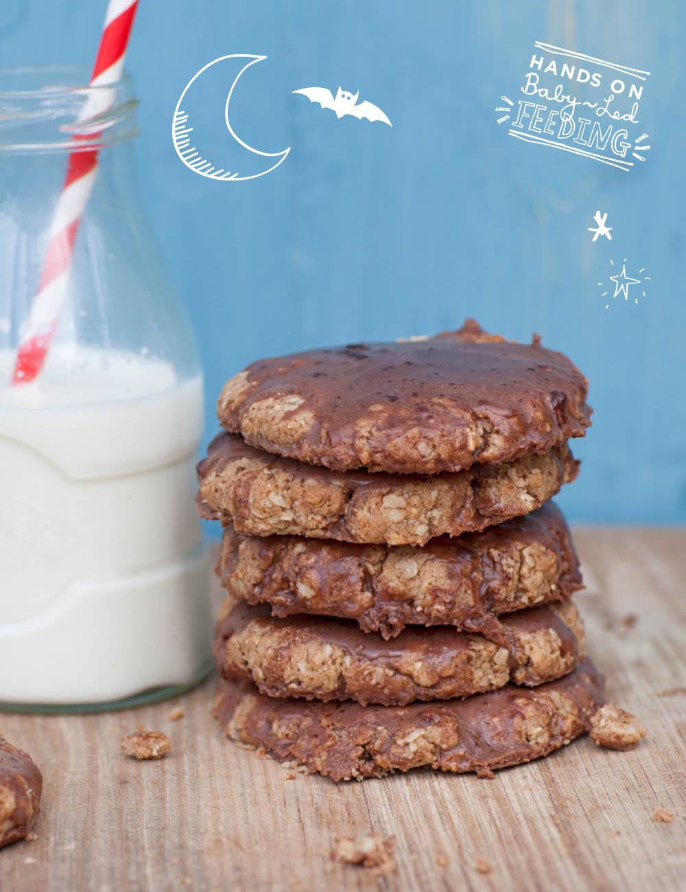 Baby Led Feeding Coconut and Oat Chocolate Cookies. Aileen Cox Blundell Healthy Homemade Baby led weaning recipe. Zoomed in cookie.