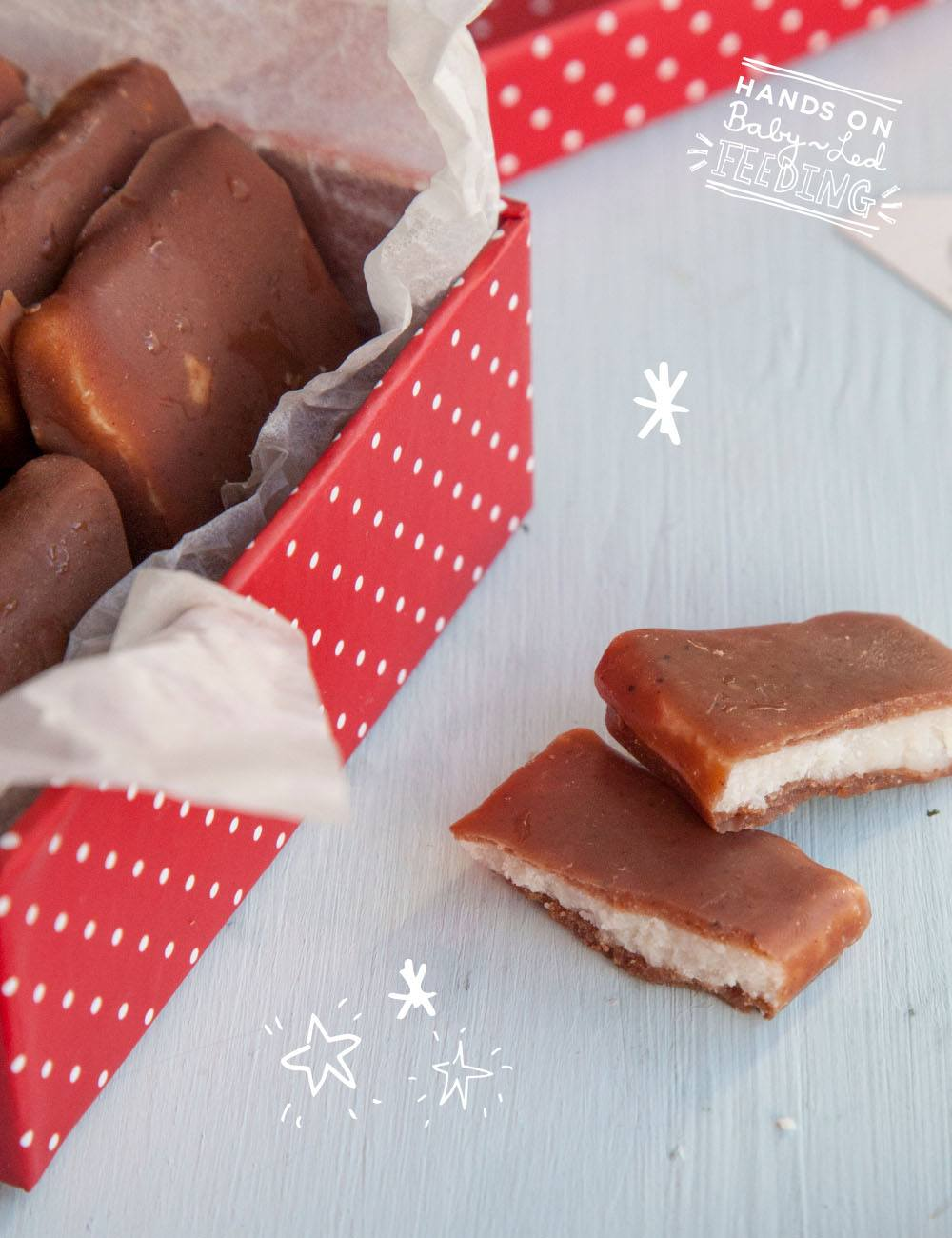 Healthy Wafer Thin Mints, Healthy After Eights Baby Led Feeding Delicious treats perfect for Christmas baby led weaning. Zoomed in image of healthy chocolate for baby led weaning recipe for Christmas. Christmas ideas for baby led weaning.
