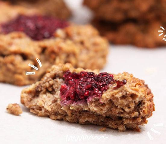 Baby Led Feeding Healthy Breakfast Cookies with Raspberry Chia Jam from Baby Led Feeding 15 Delicious breakfasts for baby led weaning babies.