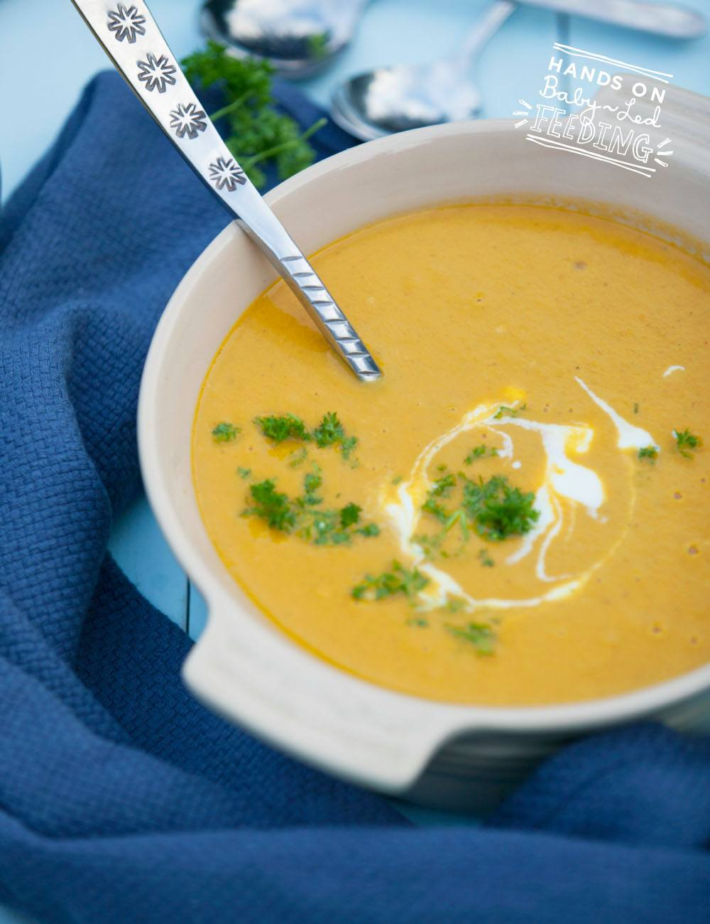 Curried Carrot and Coconut Soup especially for Baby Led Feeding Zoomed in soup image for recipe. A delicious soup packed with nutrients and perfect recipe for blw. Soup Lunch ideas for baby led weaning.
