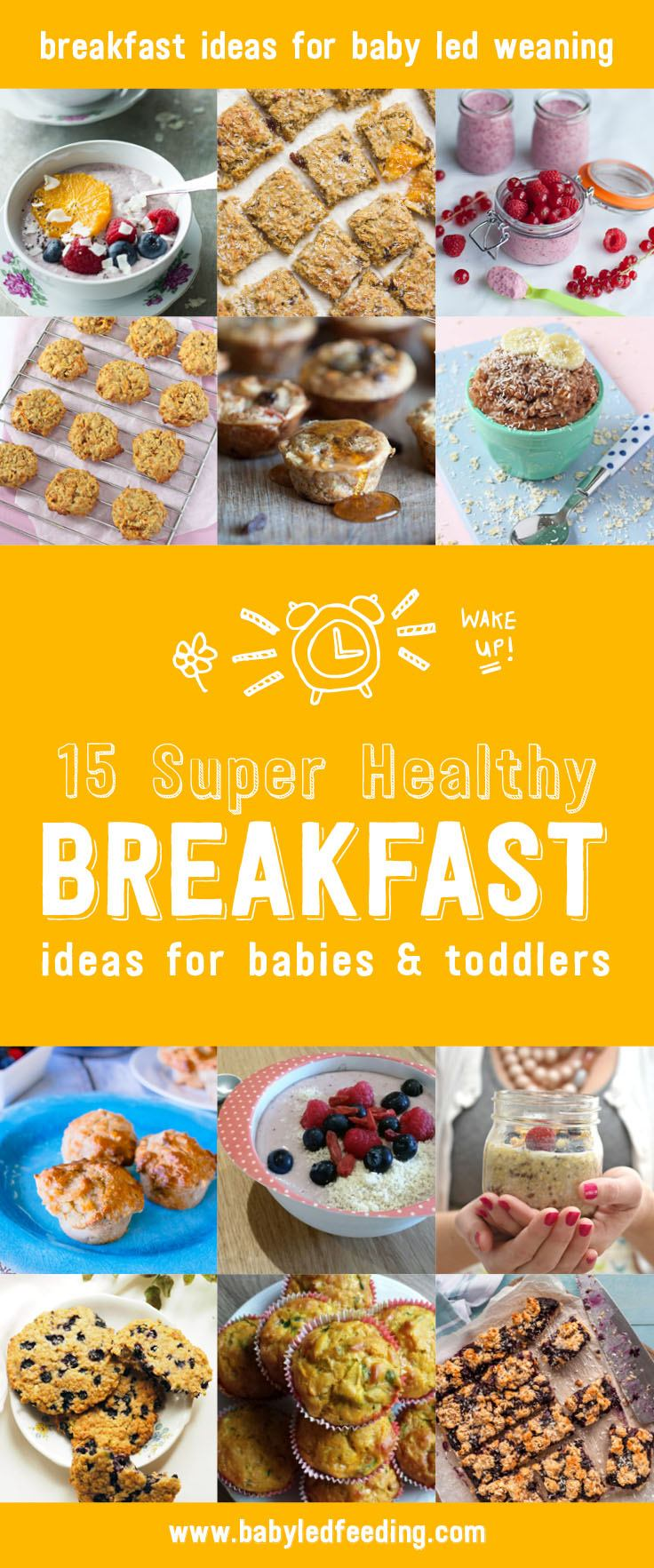 15 super healthy breakfast ideas for baby led weaning and toddlers. Most are refined sugar free and low salt. These easy breakfast recipe can be make ahead or last minute. Nutritious breakfast cookies, freezer friendly muffins and veggie loaded pancakes, fast and easy oatmeal ideas, make ahead breakfast pudding, and much more! All nutritious and all delicious! #breakfastrecipe #babyledweaning #pickyeater #breakfast #healthybreakfast #healthyrecipe