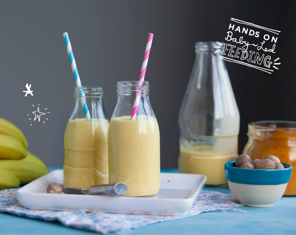 Turmeric and Banana Lassi Baby Led Feeding beautiful and healthy smoothies Image. A deliciously healthy and creamy smoothie full of yummy goodness. These can also be frozen to make teething pops for babies.