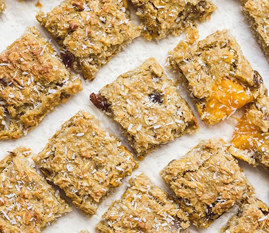 Coconut and Mango Breakfast Bites from Healthy Little Foodies. 15 Delicious breakfasts for baby led weaning babies.