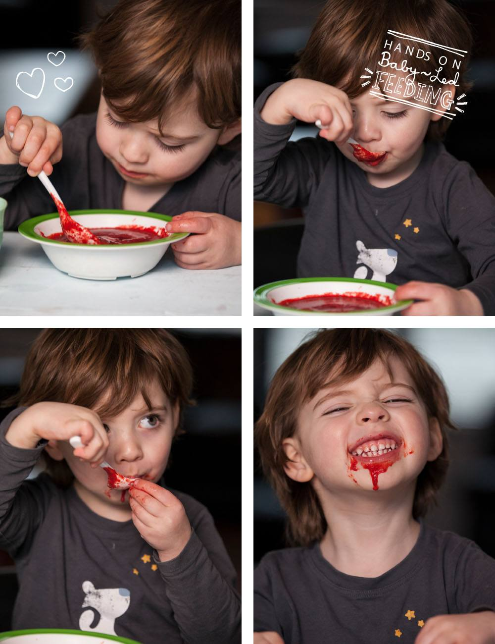 All you need is love and this beetroot soup especially for Baby Led Feeding 3 bowls of soup. Oscar enjoying eating beetroot soup. A delicious soup packed with nutrients and perfect blw recipe. Soup Lunch ideas for baby led weaning.
