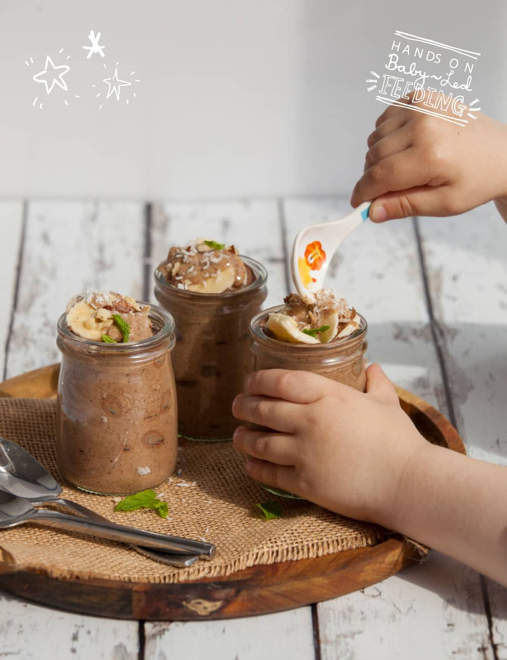 Healthy Chocolate Chia Pudding using only the best ingredients especially from Baby Led Feeding. Long image showing baby eating chocolate. Healthy treats for toddlers. This really delicious recipe for Baby Led Weaning is a yummy treat for kids and really healthy too. Baby Led Weaning natural treat recipe. BLW natural treats.