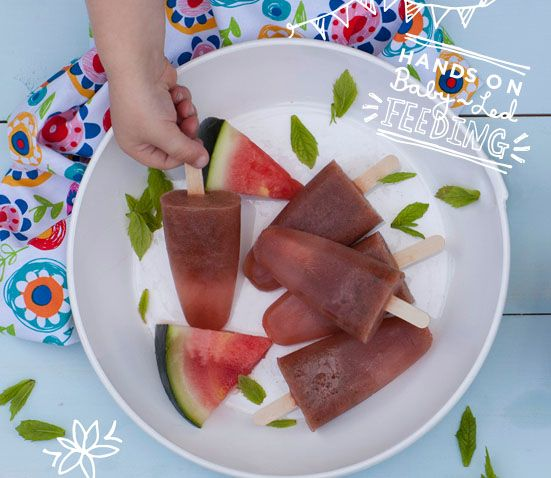 Top tips for teething from Baby Led Feeding Baby Led Feeding Melon and Mint Ice Pops. Delicious and refreshing teething ice pops for babies. These tips for blw and teething are for baby led weaning so perfect for little hands. They are also recipe for fussy eaters that will be sure to cheer you and your little one up in no time.