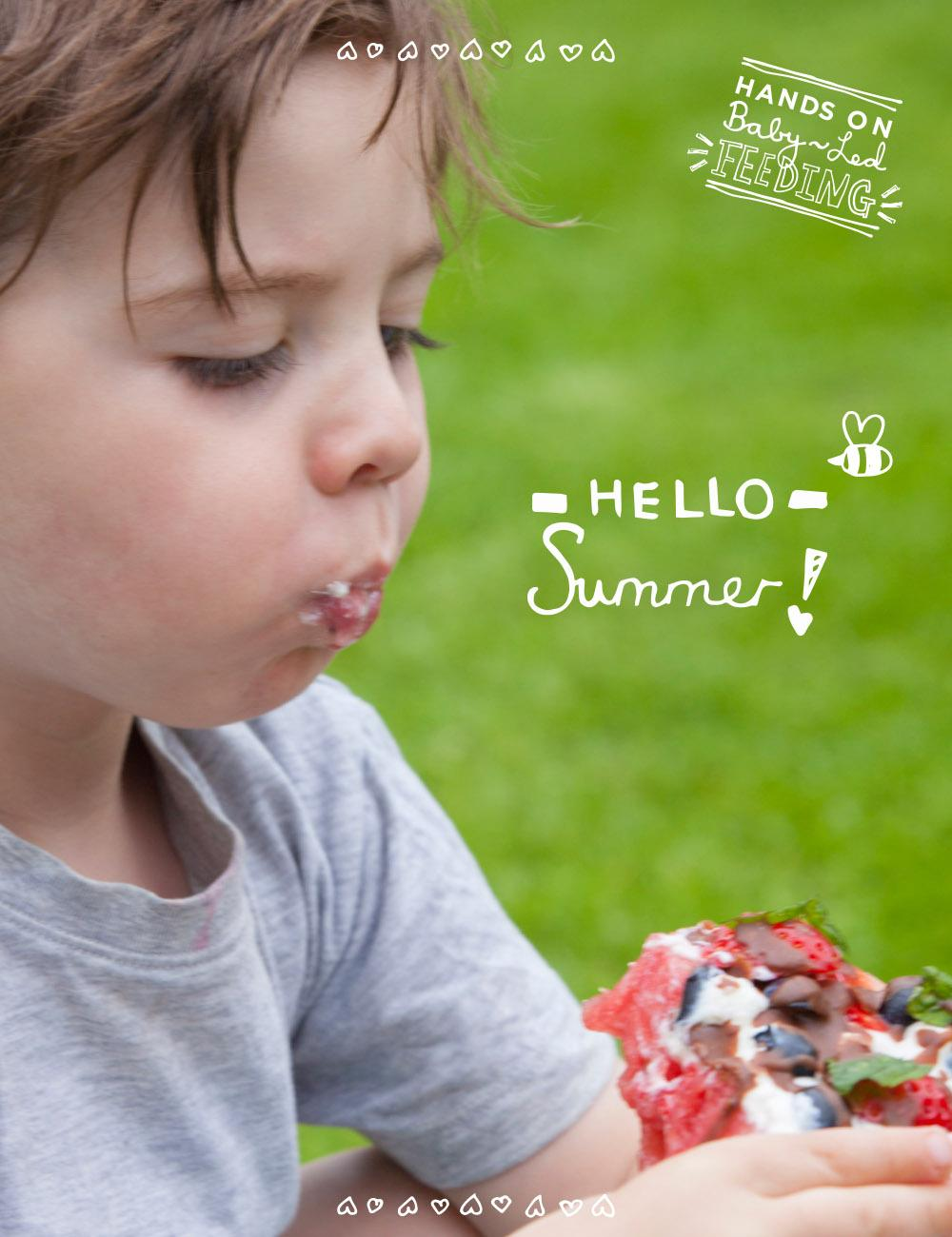 Baby Led Feeding Healthy Watermelon Fruit Pizza. A deliciously healthy, yummy treat for kids on a hot summers day. This baby led weaning recipe is easy to make and so nutritious, refined sugar free treat packed with goodness. Great for baby led feeding or as a recipe for baby led weaning.