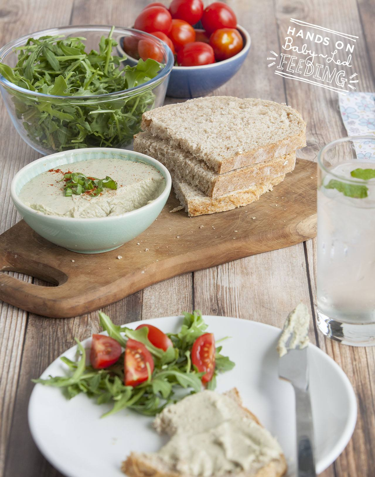 Baby led weaning mackerel pate with salad. Long recipe image. This is a perfect baby lunch recipe packed with Omega-3 rich fish and full of vitamins. Lunch ideas for baby led weaning that are easy and quick. Yummy finger foods for babies.
