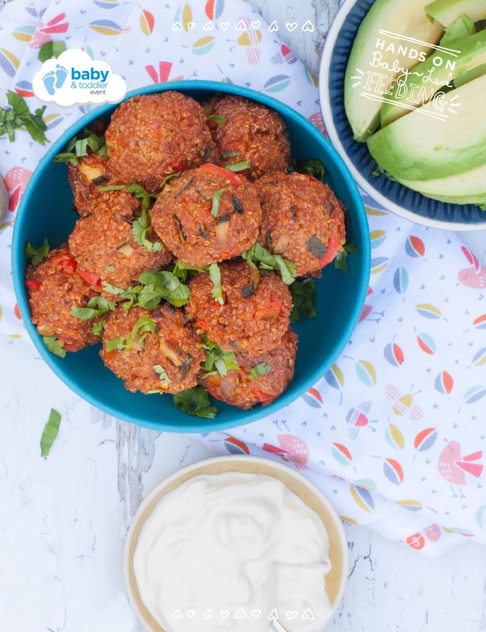 Mexican Quinoa Bites Baby Led Feeding. Recipe image for within recipe page. Homemade Baby Food Recipes perfect for little hands. Delicious baby weaning recipe from Aileen Cox Blundell author of The Baby Led Feeding Cookbook. healthy BLW recipe.