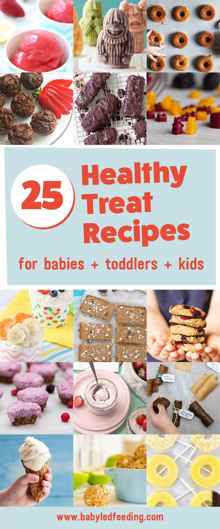 Easy snack recipe for baby led weaning, toddlers, and kids! Healthy treat recipe that are refined sugar free, low sugar, low salt, and packed with whole grains and fruits! No bake bites, healthy doughnuts, homemade fruit roll ups, fruit bars, healthy cookies and more! You can feel good about giving your children these healthy sweet treats! #healthysweets #babyledweaning #kidsnacks #toddlersnacks #babyfood #healthykids