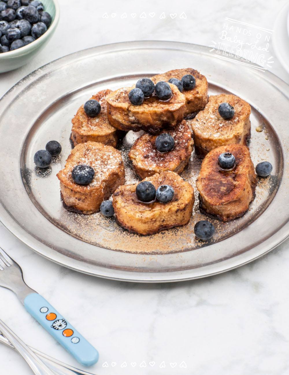 Baby led feeding has great ideas to get your kids to eat better especially breakfast recipe for blw. Full recipe image for recipe page. These Healthy Baby French Toasties with Blueberries are refined sugar free, easy to make and taste so yummy.