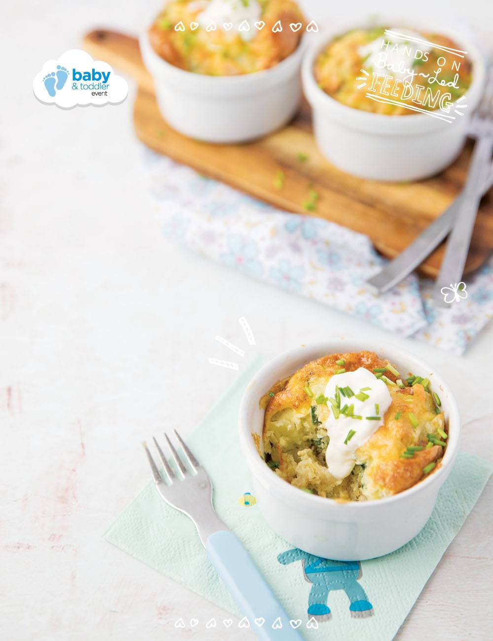 Super Healthy Spanish Omelette Baby Led Feeding a perfect baby lunch, little omelette with vegetables. Full recipe image for main recipe listing. Lunch ideas for baby led weaning, kid approved recipe full of vegetables and served with a side of sour cream.