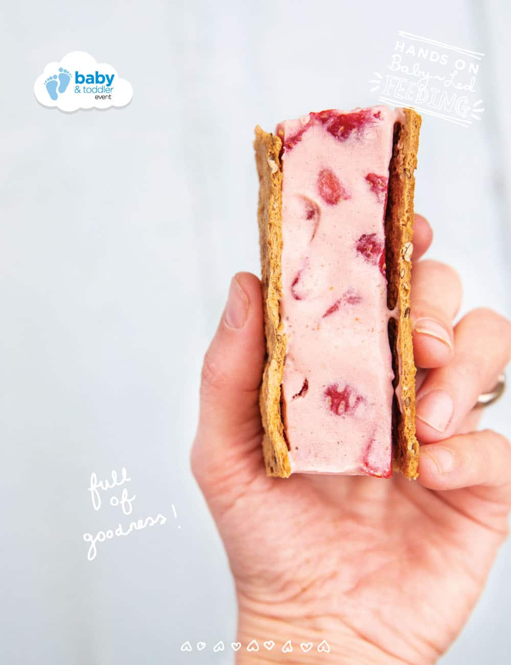 These Baby led feeding ice cream sandwiches are a really Healthy Finger Foods for babies.