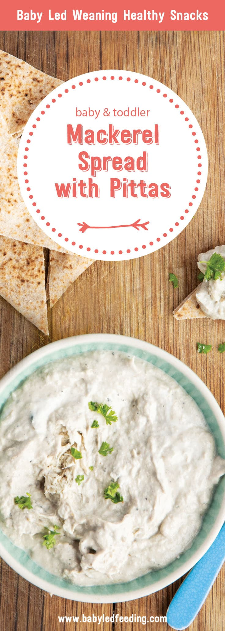 Mackerel spread is a perfectly scrumptious baby led weaning lunch that's packed to the brim with heart and brain healthy omega 3s. Serve with fresh veggies like carrots or celery and whole wheat pita. Dips are a perfect way to get picky eaters to eat nutritious foods. #fingerfood #babyledweaninglunch #babyledweaning #babyledfeeding #omega3