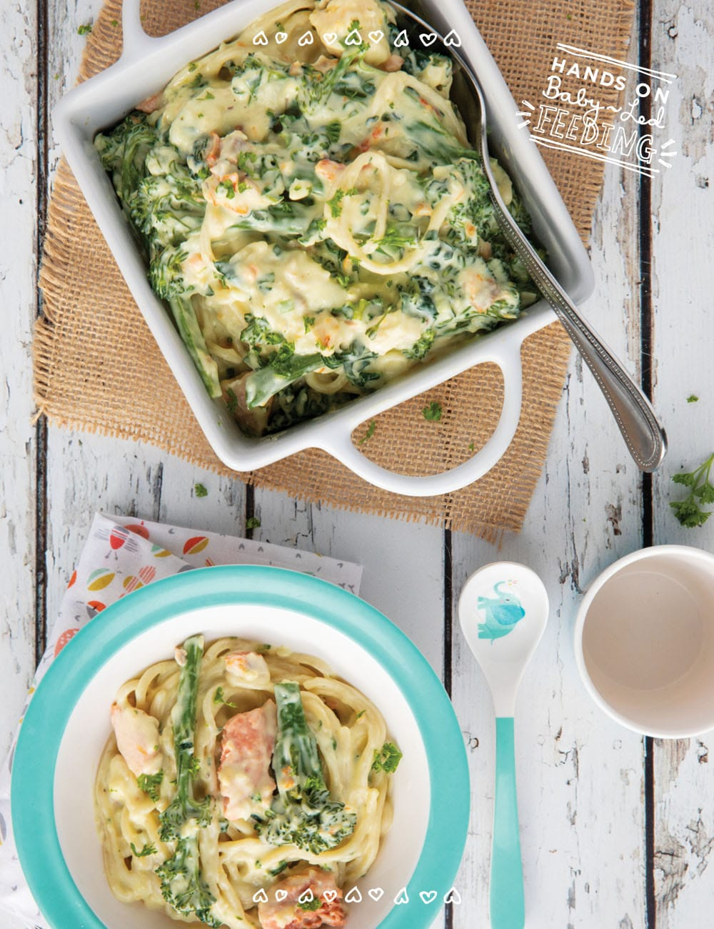 Baby Led Weaning friendly creamy seafood pasta with crushed garlic, Irish cream, tenderstem broccoli, and kale. An easy healthy recipe for the entire family that is loaded with Omega 3s, vitamin C, A, and K! #babyledweaning #babyledfeeding #pasta #seafood #seafoodpasta #familyfood