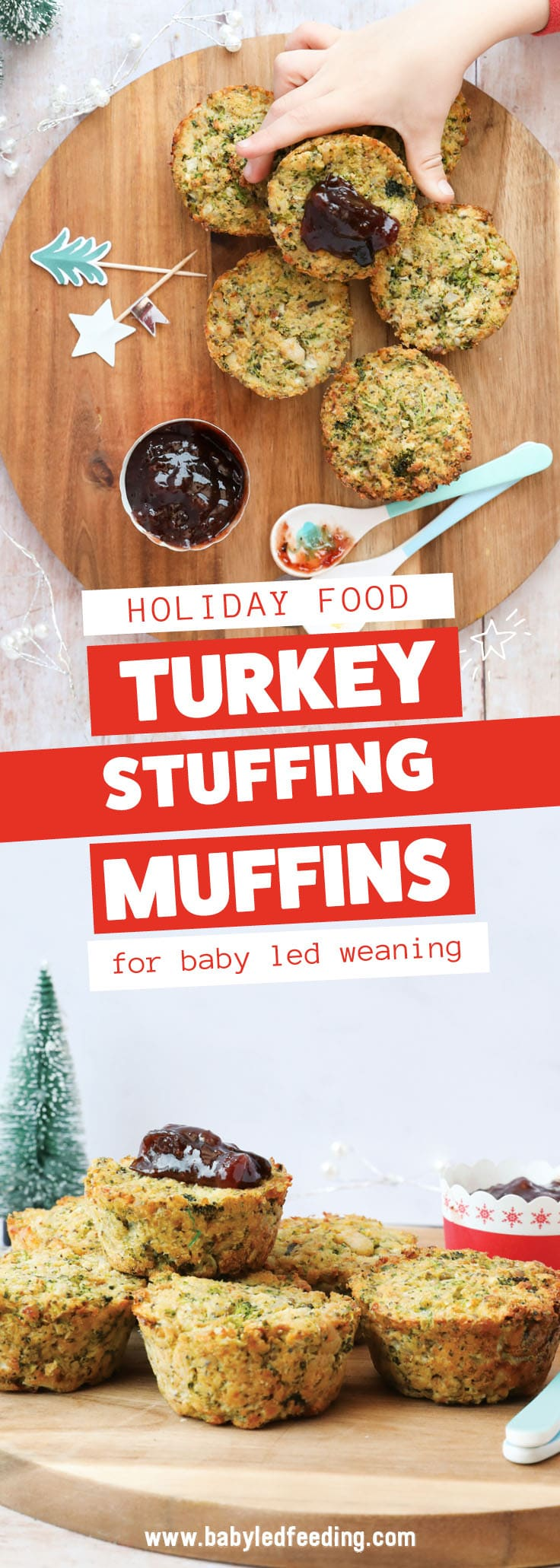 Wholegrain Turkey Stuffing Muffins make a healthy leftover recipe that is easy and freezer friendly. Served with a dollop of cranberry sauce, the little muffins are a healthy finger food the entire family can enjoy. They make healthy appetizers too! #leftovers #holidayrecipe #turkeyrecipe #babyledweaning #babyledfeeding #christmasrecipe