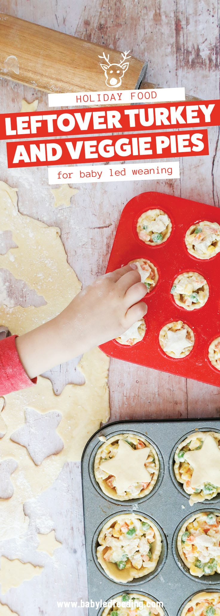 Turkey and Veggie Loaded Mini Pies. Easy recipe to use up your leftover turkey, chicken or even ham! Healthy family recipe loaded with carrots, peas, corn and seasoned with fresh thyme and dijon. A simple baby led weaning recipe that excellent to make ahead and freeze for busy families. #meatpie #potpie #babyledweaning #babyledfeeding #leftoverrecipe