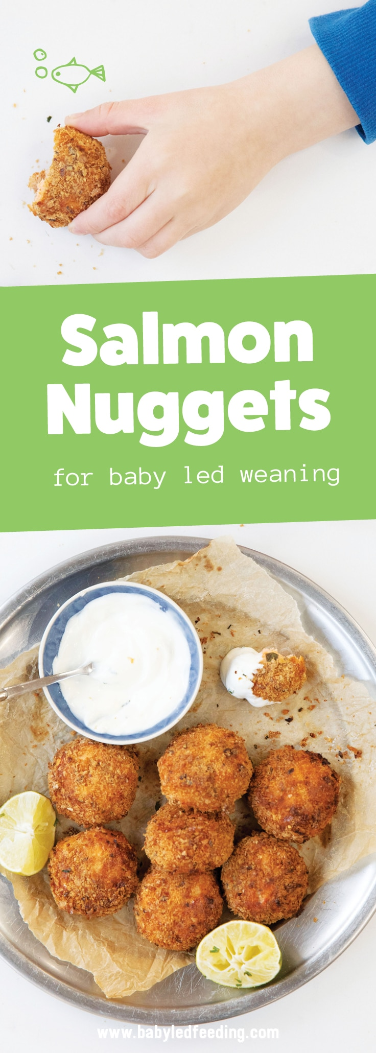 Easy Salmon Nugget Recipe for Baby Led Weaning and Toddlers. This healthy recipe for kids is loaded with omega 3s, vitamin A, fiber, and vitamin K! Fresh salmon, nutrient packed spinach, and whole grain bread crumbs with a yogurt lime dipping sauce make this finger food an easy lunch or dinner choice for your little ones. Freezer friendly, low sodium, and free from refined sugars! It's like a homemade fish stick but WAY better!