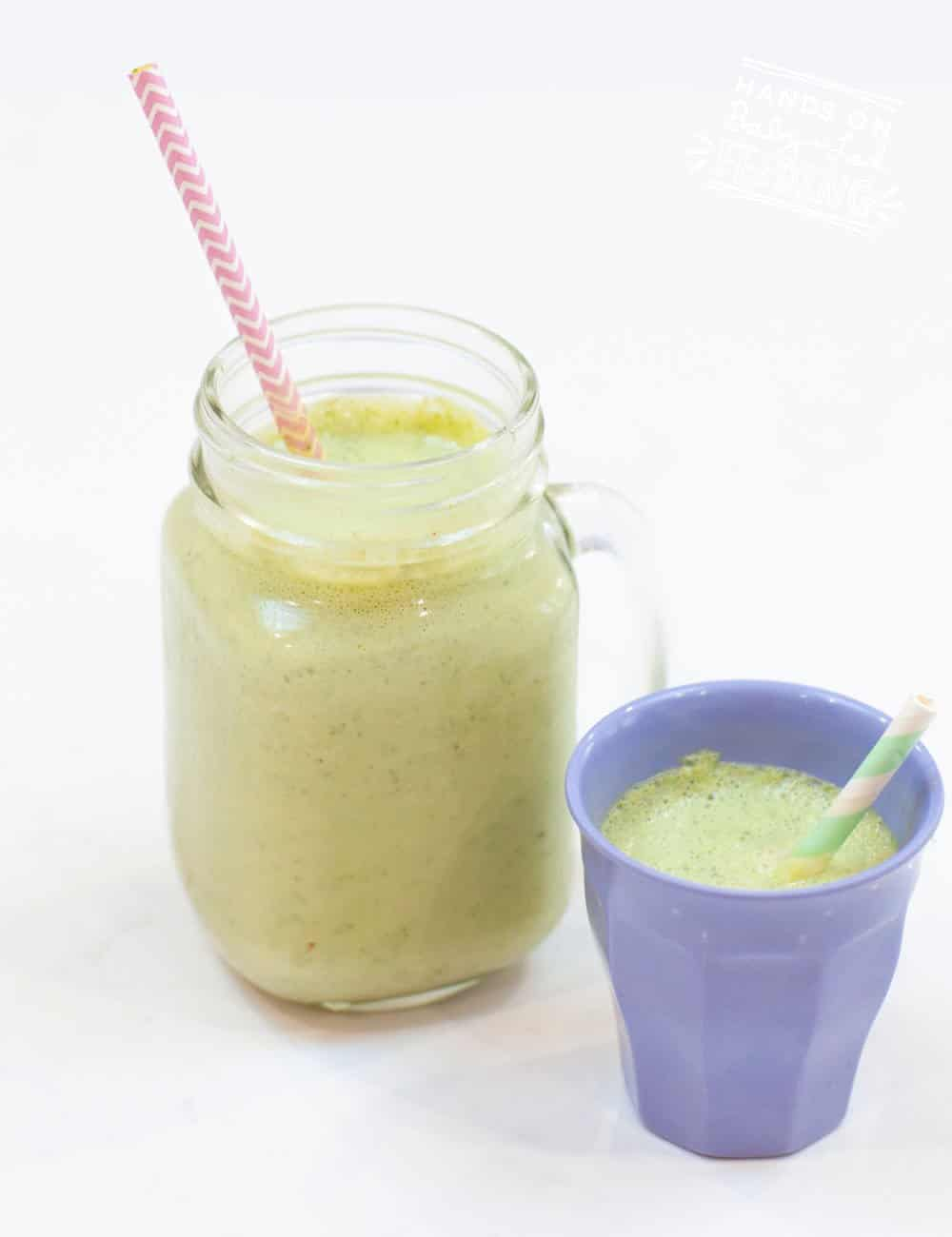 Kale and Pineapple Smoothie has just 5 ingredients and is full of healthy veggies, sweet pineapple, and tangy lime! This easy smoothie makes a quick breakfast or easy snack and is an excellent way to hide veggies from your picky eater! #smoothierecipe #pineapple #pickyeater #babyledweaning