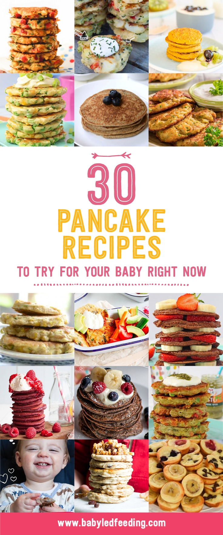 Ultimate List of Pancake Recipes! Baby pancakes, veggie pancakes, fruit pancakes, oat pancakes, wheat free pancakes, quinoa pancakes... Healthy sweet pancake and savory pancake recipe. Make ahead and freeze! The ultimate baby led weaning finger food! #pancakes #pancakerecipe #babyledweaning #pickyeater #fingerfood
