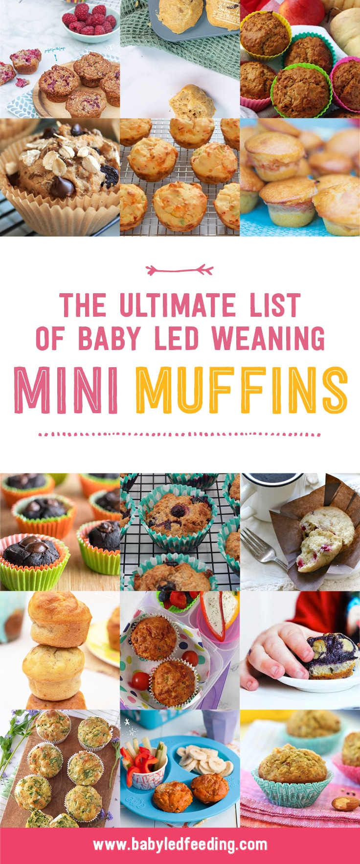 Ultimate list of Mini Muffins! 25+ Healthy muffin recipe for babies and toddlers. Muffins are the ultimate freezer friendly veggie hiding finger foods for picky eaters and busy families! #minimuffins #muffinrecipe #babyledweaning #fingerfood #makeahead