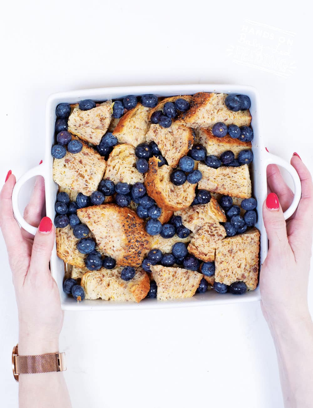 Lemon, Blueberries, and Chi seeds are just a few of the yummy healthy ingredients in this easy refined sugar free french toast bake! Simple step by step images make this baby led weaning recipe easy-to-make. Prepare ahead and bake the next morning for a quick and easy breakfast. #babyledweaning #babyledfeeding #frenchtoast #blueberryrecipe #mealprep