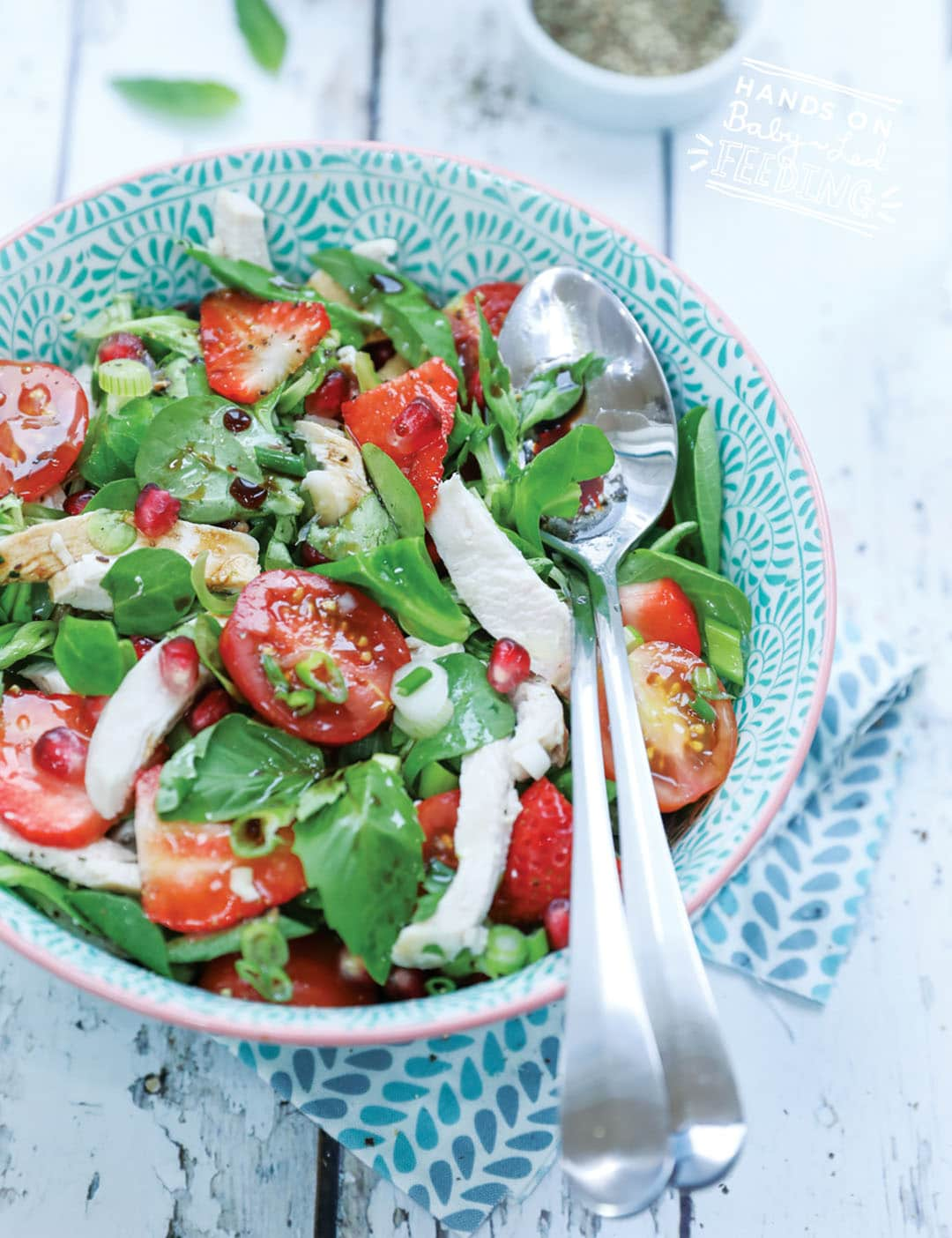 Chicken, Pomegrante and Strawberry Salad Recipe Images5
