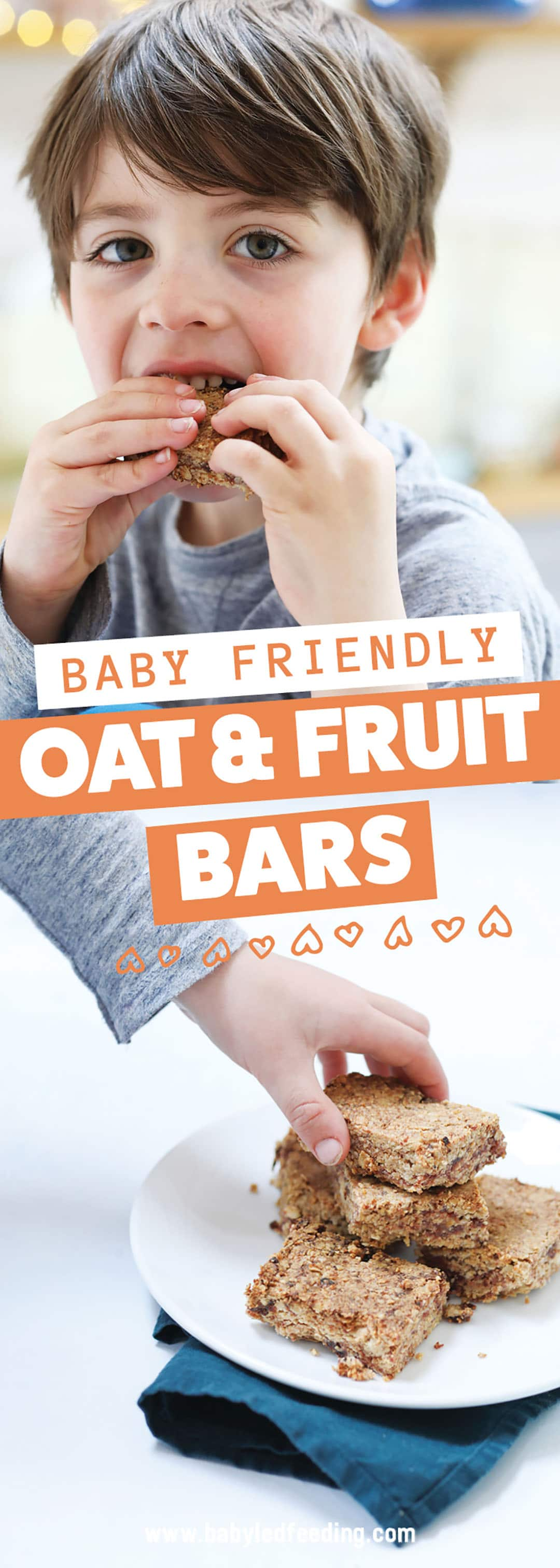 Super simple healthy snack bars for baby led weaning and kids. These easy oat bars have only 7 simple easy to find ingredients you probably already have in your pantry. Make ahead and snack all week! #babyledweaning #oatbars #healthysnacks #refinedsugarfree