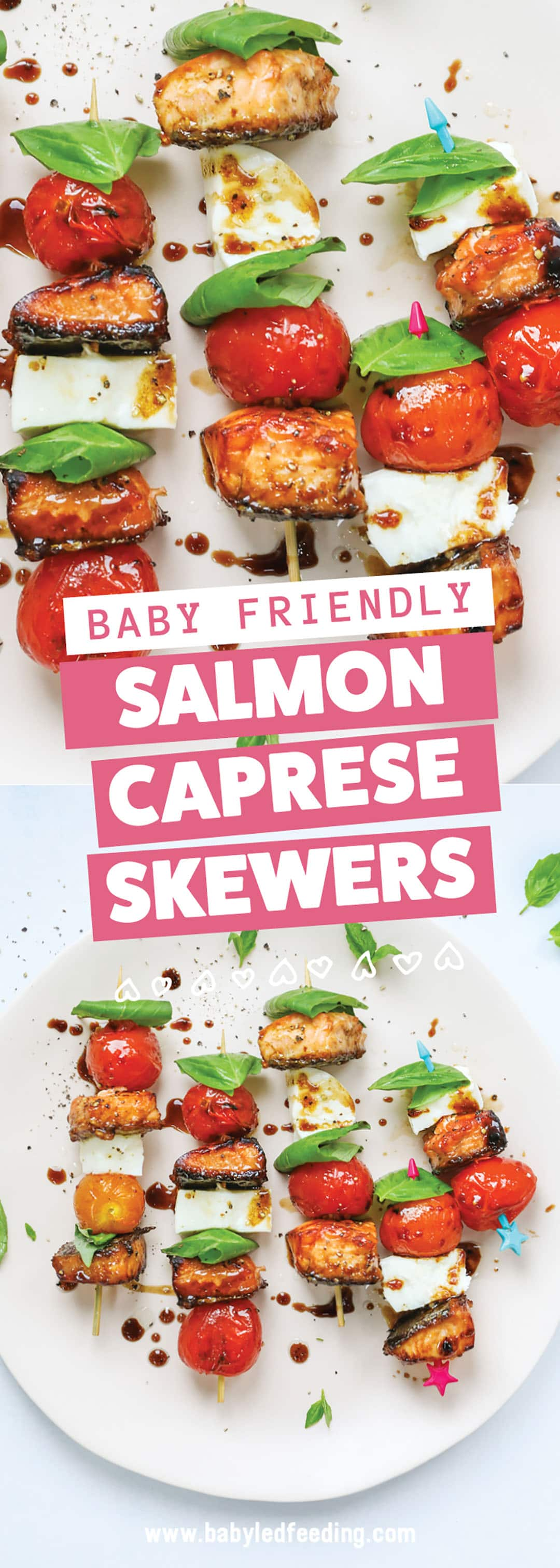 Baby Friendly Salmon Caprese Skewers are full of healthy Omega 3s and protein! This healthy summer dinner is perfect for the BBQ. Juicy grilled tomatoes and sticky sweet (refined sugar free) grilled salmon with fresh basil and mozzarella. Easy healthy baby led weaning. #babyledweaning #BBQ #babyledweaningdinner #babyledfeeding #omega3