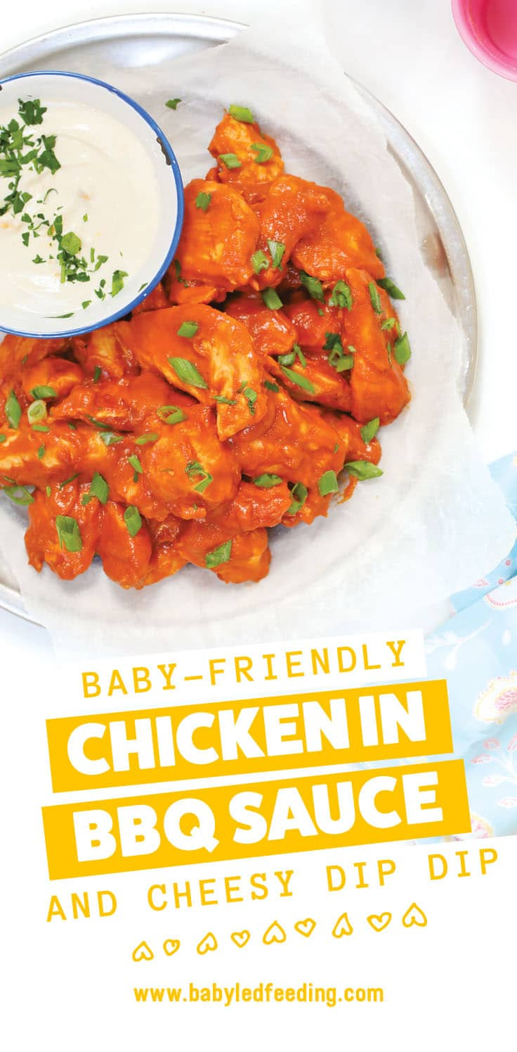 Baby Led Weaning Chicken in BBQ Sauce with cheesy DIP DIP! Fresh ginger and mango are featured in this yummy BBQ sauce! Serve with a unique goat's cheese dipping sauce! Easy and healthy dinner or lunch for baby led weaning. #refinedsugarfree #bbq #goatcheese #babyledweaning
