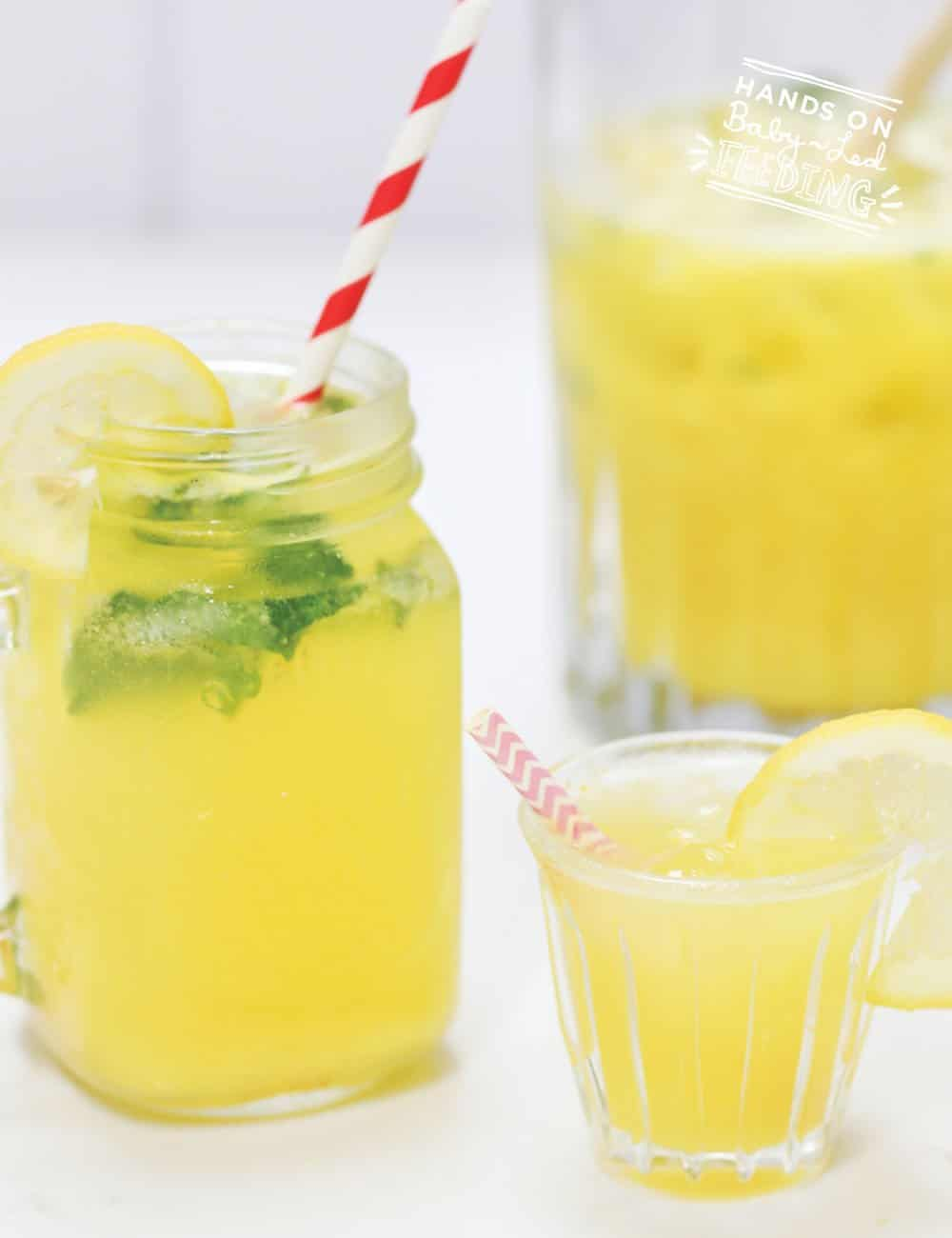 3 Ingredient Refined Sugar Free/ No Sugar Added Lemonade for Kids! Nothing says summer like lemonade but it's usually loaded with sugar, NOT THIS RECIPE! This refreshing sugar free lemonade is all natural and just as sweet tasting as other lemonades. #lemonade #summerdrinks #refinedsugarfree #noaddedsugar #kiddrinks #healthyjuice
