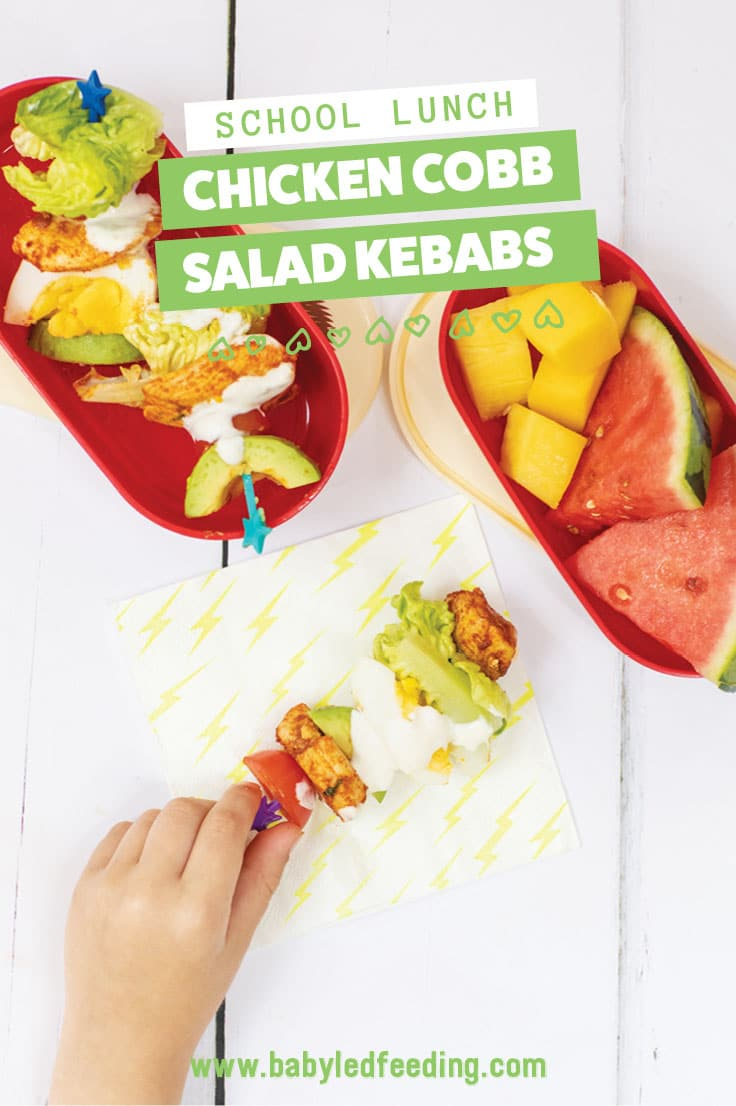 Chicken Cobb Salad on a Stick! One of the easiest ways to make food fun for kids is to put food on a stick! This traditional Cobb salad recipe is excellent for back to school lunches. Whats more, make yourself a salad while you're at it! #foodonastick #backtoschool #lunchboxideas #funfood