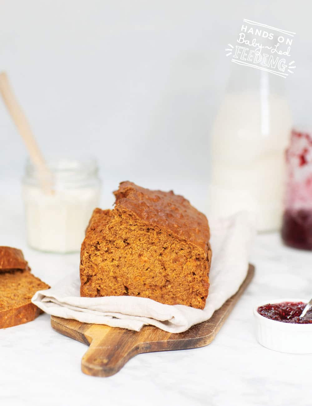 Healthier Sweet Potato and Cinnamon Bread made with roasted sweet potato and lightly sweetened with maple syrup. Excellent for baby led weaning, school lunches, and holiday treats. Simple recipe that is refined sugar free and easy to make. #breadrecipe #sweetpotato #backtoschool #babyledweaning #babyledfeeding
