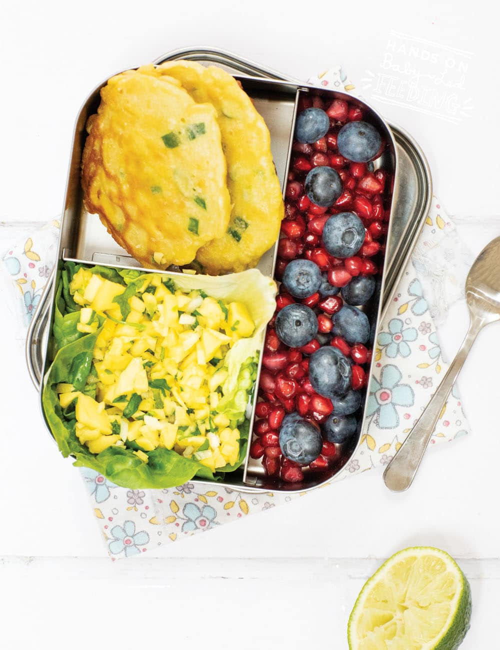 Sweetcorn Fritters with EASY Mango Salsa is one of the easiest lunchbox ideas you'll add to your bento box! Made with common kitchen ingredients and simple steps. This easy healthy finger food is super for picky eaters, toddlers, kids, and baby led weaning! #fingerfood #lunchbox #bentobox #backtoschool #fritters