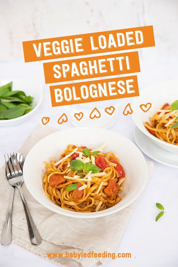 Make-ahead spaghetti bolognese loaded with veggies. Easy and healthy baby led weaning family dinner that can be batch cooked for meal prep! Vegetarian, dairy free, nut free, refined sugar free, egg free, vegan option.