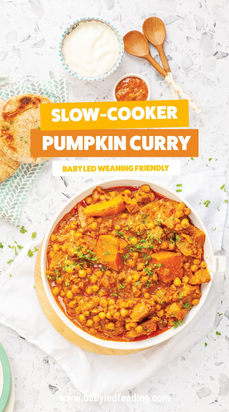 Slow Cooker Pumpkin Curry for Baby Led Weaning! Easy and healthy vegan recipe that serves the whole family! Set it and forget it in your crockpot / slow cooker and come home to a healthy dinner! #vegan #dairyfree #vegetarian #eggfree #babyledweaning