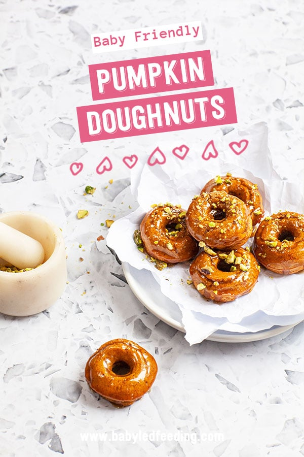 Refined sugar free pumpkin doughnuts for Baby Led Weaning. A healthier sweet treat for babies and toddlers.